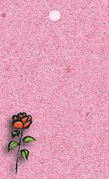 Rosa kort med röd tecknad ros