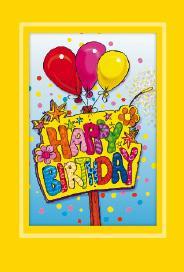 Gult kort med ballonger. ''Happy birthday''