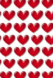 Vitt kort med små röda hjärtan.