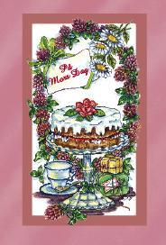 Rosa kort med tårta och kaffe med klöverblommor. ''På mors dag''