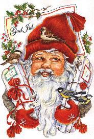 Vitt kort med tomte som håller julklappar