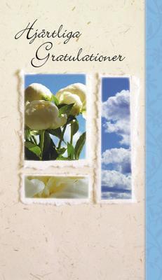 Ljust kort med vita pioner. ''Hjärtliga Gratulationer''