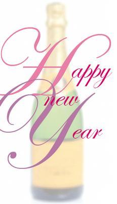 Vitt kort med champagneflaska.''Happy New Year''