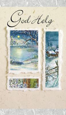 Ljust kort med vinterlandskap.''God Helg''