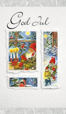 Ljust grått kort med tomtar.''God Jul''