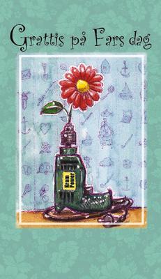 Ljus grönt kort med borr.''Grattis på Fars Dag''