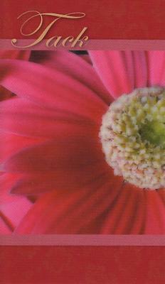 Rött kort med rosa gerbera.''Tack''