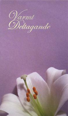 Kondoleans kort, text '' Varmt Deltagande ''