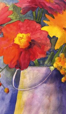 Rödblomma i akvarell, textfri
