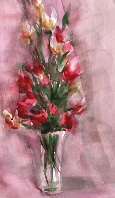 Rödbukett i akvarell, textfri
