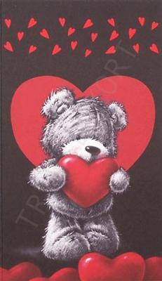 Nalle svart bakgrun med rött hjärta