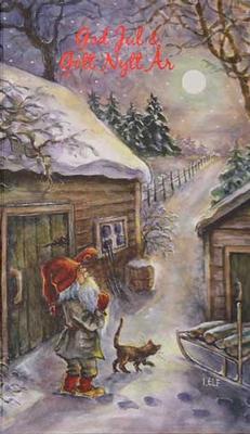 Tomte med Katt God jul o Gott nytt år