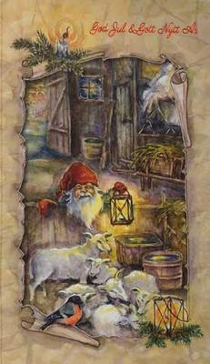 Tomte med Lamm God jul o Gott Nytt år