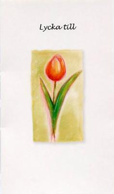 Vitt kort med en gul/orange tulpan.''Lycka till''