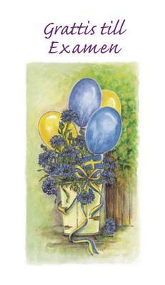 Vitt kort med ballonger.''Grattis till Examen''