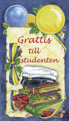 Blått kort med studentmössa,ballonger & böcker.''Grattis till studenten''