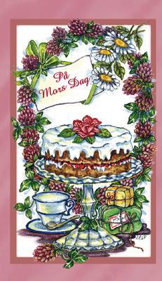 Rosa kort med gräddtårta och kaffe.''På Mors Dag''