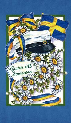 Blått kort med prästkragar,studentmössa & svenska flaggan.''Grattis till studenten''