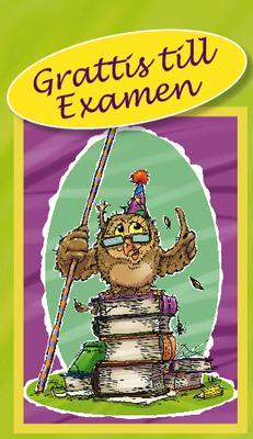 Limegrönt kort med vis uggla.''Grattis till Examen''