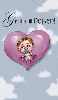 Blått kort med moln i bakgrunden.Bebispojke på ett hjärta.''Grattis till pojken''