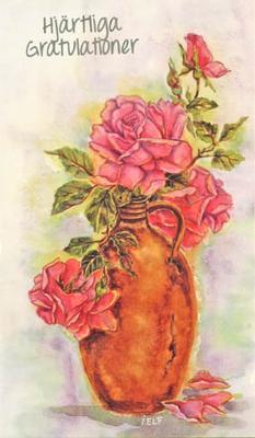 Hjärtliga Gratulationer,röda rosor i vas.