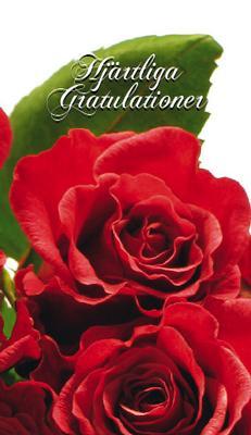 Röda rosor med grönt blad ''Hjärtliga gratulationer''
