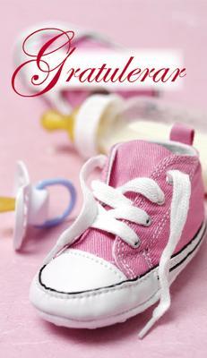 Rosa skor med napp.''Gratulerar''