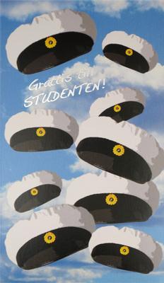 Studentkort med folierad text