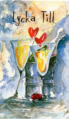Två glas med ett par hjärtan & ett par nyckelpigor.''Lycka Till''