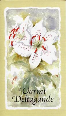 Ljus grönt kort med vita blommor.''Varmt deltagande''