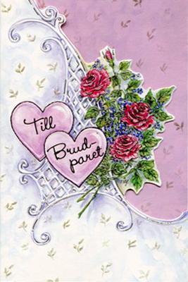 Röda rosor med rosa/lila och vit bakgrund.''Till Brudparet''
