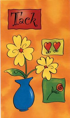 Orange kort med blommor.''Tack''