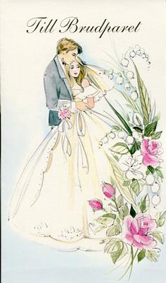 Vitt kort med ett brudpar.''Till Brudparet''