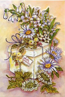 Stilrent vitt paket med vita blommor runt om.