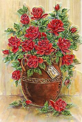 Röda rosor i kruka.