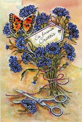 En bukett med blåklint och fjäril.''Försenat grattis''