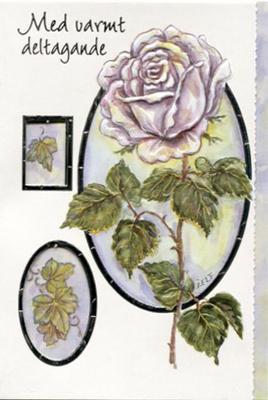Vit ros på vit bakgrund.''Med varmt deltagande''
