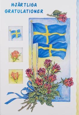 2 flaggor med röd rosbukett