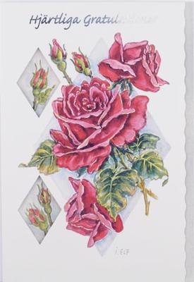 Röda rosor.''Hjärtliga gratulationer''