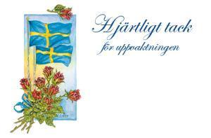 Svenska flaggor i akvarell '' Hjärtligt tack ''