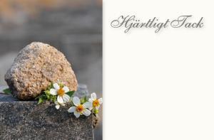 Sten & vita blommor '' Hjärtligt Tack ''
