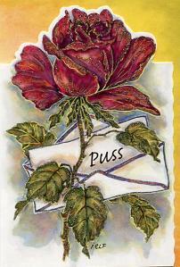 Röd ros med kärleksbrev.''Puss''