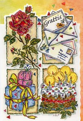 Fyra rutor med en röd ros, paket, brev & tårta.''Grattis''