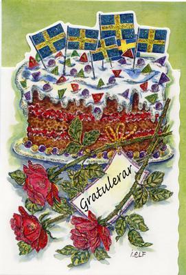 Tårta med svenska flaggor.''Gratulerar''