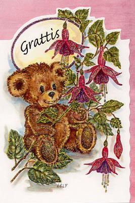 Nalle med rosa blommor.''Grattis''