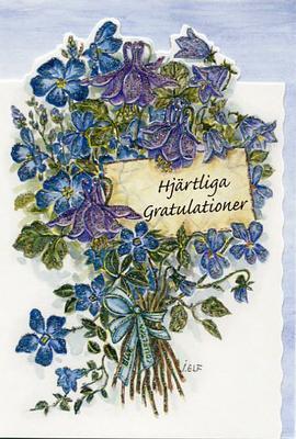 Blombukett med blåa blommor.''Hjärtliga gratulationer''