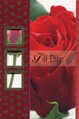 Röd ros med små hjärtan i glitter.''Till dig''