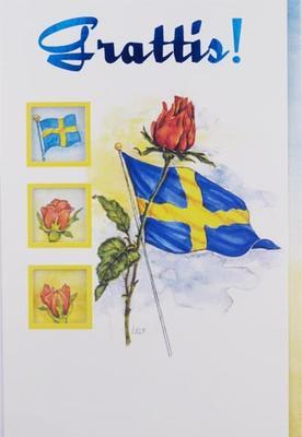 svensk flagga med röd ros