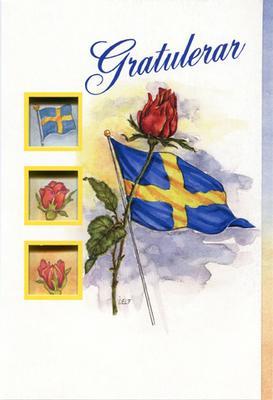 Vitt kort med en röd ros och svenska flaggan.''Gratulerar''
