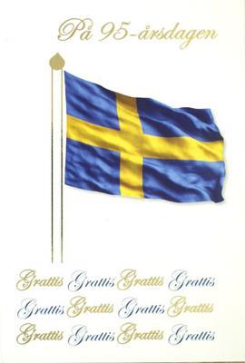 95 årskort, svenska flaggan. Folierad text